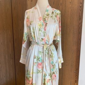 Vintage Christian Dior Floral Satin Robe Sz Sm